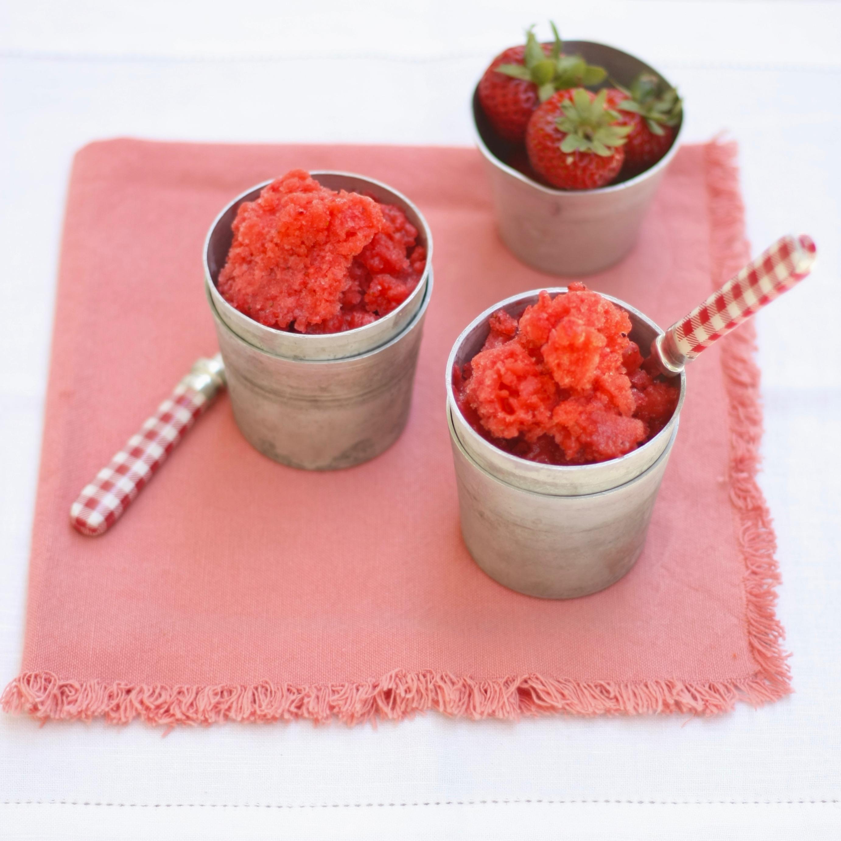 Fresh Strawberry Granita - Marilena's Kitchen